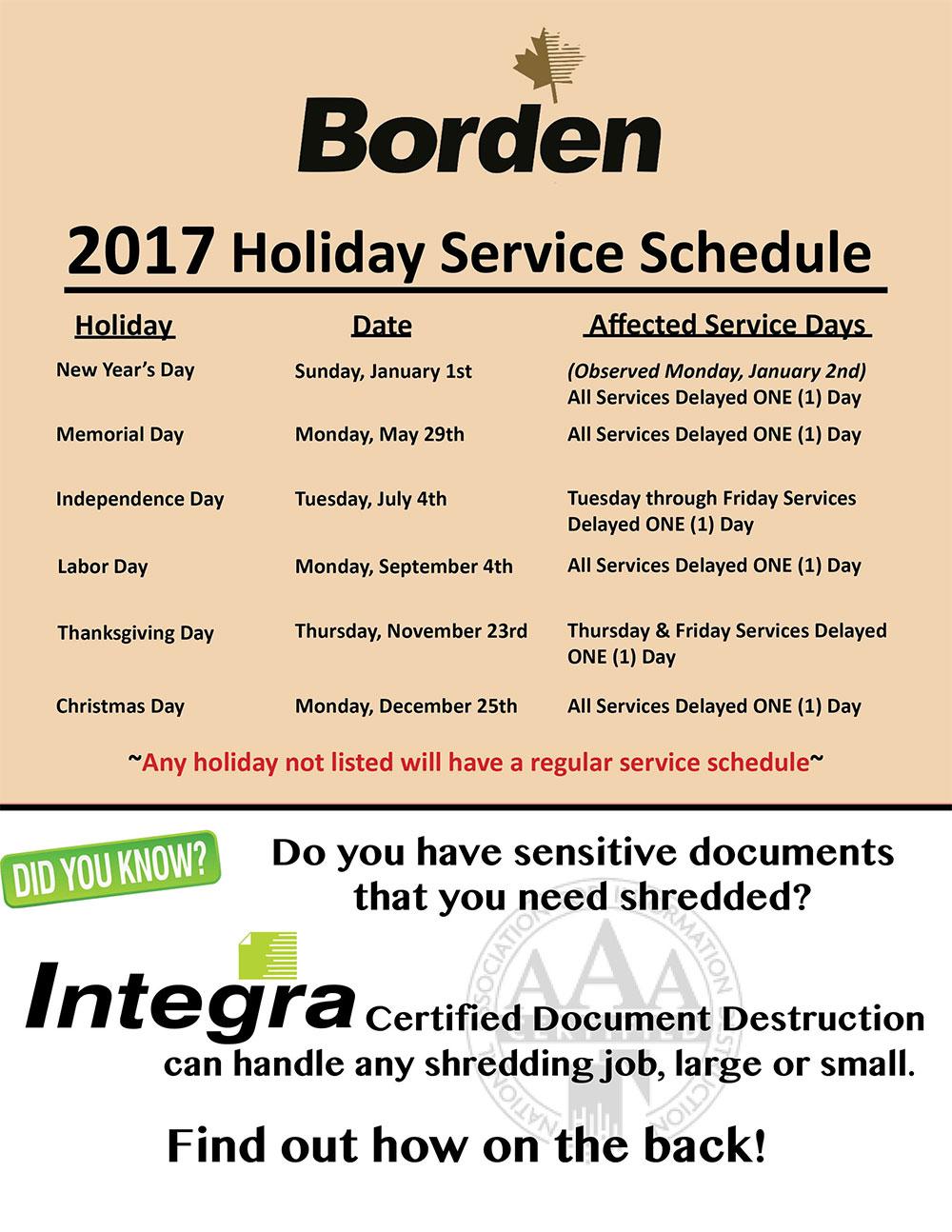 2017 Holiday Service